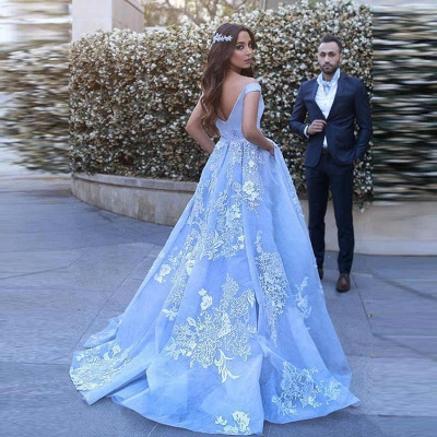 Romantic Ball Gown Prom Dresses Off-the-Shoulder Baby Blue Lace Appliques Evening Gowns_5