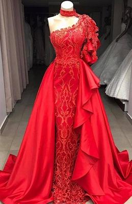Elegant A-Line One-Shoulder Halter Appliques Sequins Floor-Length Prom Dresses_2