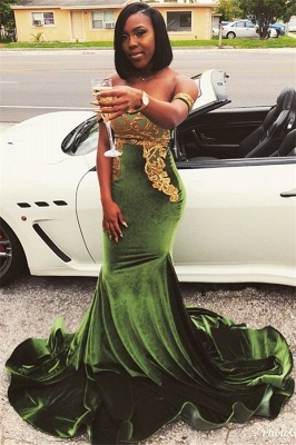 Stunning Mermaid Off-the-Shoulder Appliques Zipper Sweep-Train Prom Dresses_1