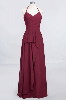 A-Line Halter V-Neck Sleeveless Floor-Length  Bridesmaid Dress with Ruffle_1