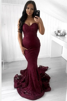 Chic Mermaid Appliques Sleeveless Strapless Sweep-Train Prom Dresses_1