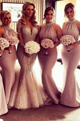 Elegant Halter Mermaid Bridesmaid Dresses   Sexy Ruched Long Wedding Party Dresses_2