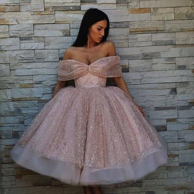 Unique Ball Gown  Off-the-Shoulder Tea-Length Prom Dresses_3