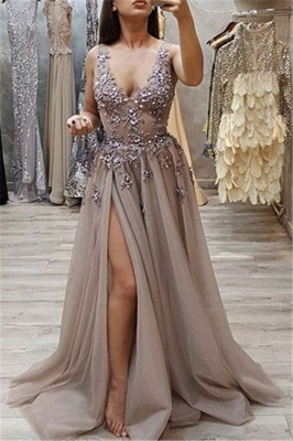 Unique A-Line Straps Sleeveless Front-Split V-Neck Floor-Length Prom Dresses_3