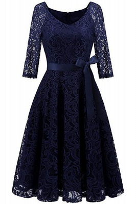 Multi-color A-line Holiday Guipure lace Round Neck Midi Lace Dresses_6