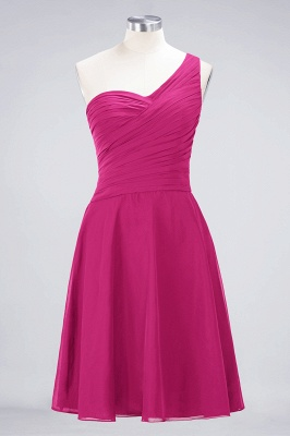 A-Line One-Shoulder Sweetheart Sleeveless Knee-Length  Bridesmaid Dress with Ruffles_9