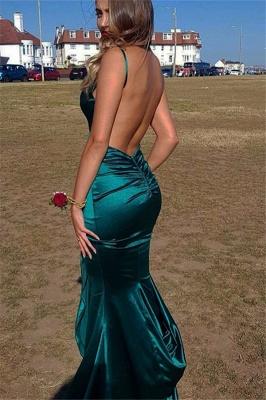Elegant Mermaid Spaghetti-Straps V-Neck Backless Sleeveless Floor-Length Prom Dresses_3