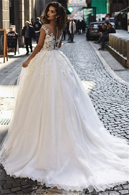 Stunning Ball Gown Tulle Cap-Sleeves V-Neck Appliques Wedding Dresses_3