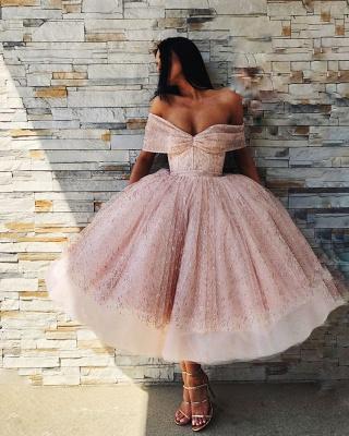 Unique Ball Gown  Off-the-Shoulder Tea-Length Prom Dresses_4