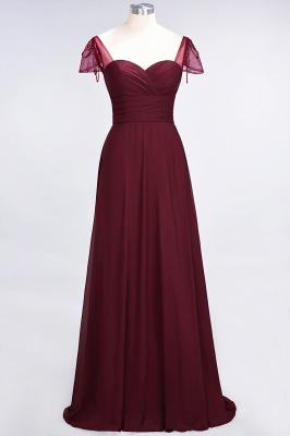 A-Line Sweetheart Cap-Sleeves Ruffle Floor-Length  Bridesmaid Dress with Beadings_2