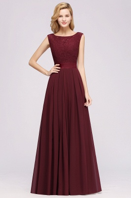 Simple A-Line Chiffon Bridesmaid Dresses | Scoop Sleeveless Lace Appliques Maid of the Honor Dresses_3