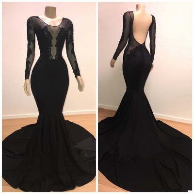 Stylish Mermaid Scoop Long-Sleeves Backless Appliques  Prom Dresses_3