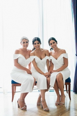 Off The Shoulder Sexy Bridesmaid Dresses | Front Split Cheap White Maid of Honor Dress_1