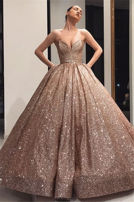 Beautiful Ball Gown Strapless Sleeveless Sweep-Train Prom Dresses_1