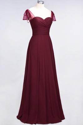 A-Line Sweetheart Cap-Sleeves Ruffle Floor-Length  Bridesmaid Dress with Beadings_4