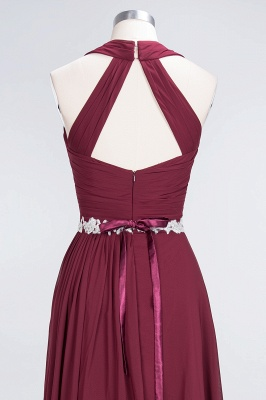 A-Line Halter V-Neck Sleeveless Ruffle Floor-Length  Bridesmaid Dress with Appliques Sashes_5