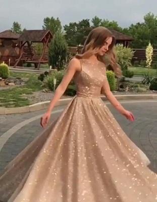 2019 Fashion Sleeveless Sequins A-Line Crew Floor-Length Prom Dresses_1