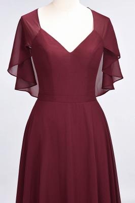 A-Line V-Neck short-sleeves Floor-Length Satin Bridesmaid Dress_5