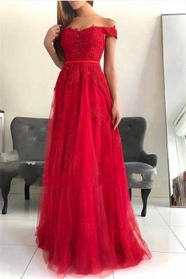 Chic A-Line  Off-the-Shoulder Appliques Floor-Length Prom Dresses_1