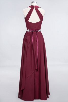 A-Line Halter V-Neck Sleeveless Ruffle Floor-Length  Bridesmaid Dress with Appliques Sashes_2