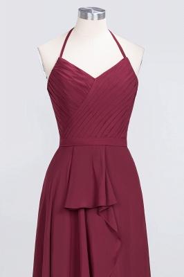 A-Line Halter V-Neck Sleeveless Floor-Length  Bridesmaid Dress with Ruffle_4