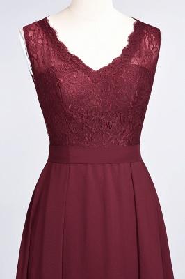 A-Line V-Neck Sleeveless Floor-Length  Lace Bridesmaid Dress_5