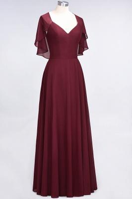 A-Line V-Neck short-sleeves Floor-Length Satin Bridesmaid Dress_4