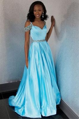Unique A-Line Off-the-Shoulder Rhinestones Lace Floor-Length Prom Dresses_3