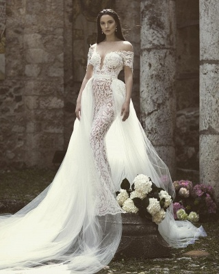 Glamorous Mermaid Off-the-Shoulder V-Neck Appliques Tulle Wedding Dresses_3