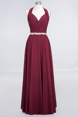 A-Line Halter V-Neck Sleeveless Ruffle Floor-Length  Bridesmaid Dress with Appliques Sashes_1