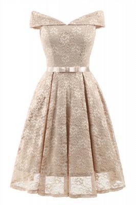 Retro Lace Off-the-shoudler Dress Elegant Cocktail Party Cap Sleeve A Line Vintage Dress_4