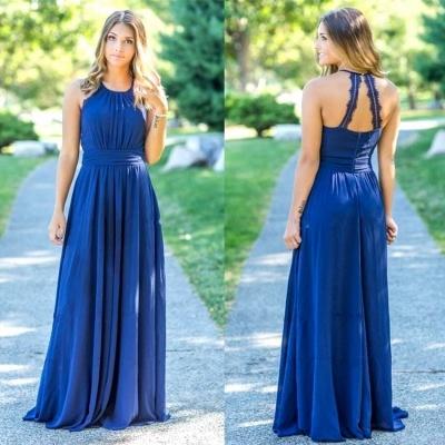 Ocean Blue Halter  Cheap Bridesmaid Dresses | A-line Open Back Floor-length Bridesmaid Dresses_3