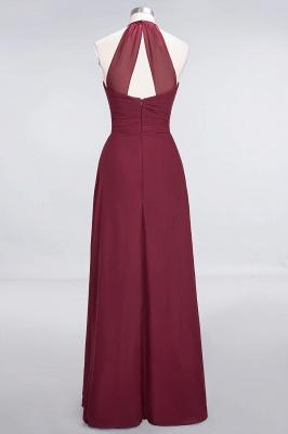 A-Line Halter V-Neck Sleeveless Floor-Length  Bridesmaid Dress with Ruffle_2