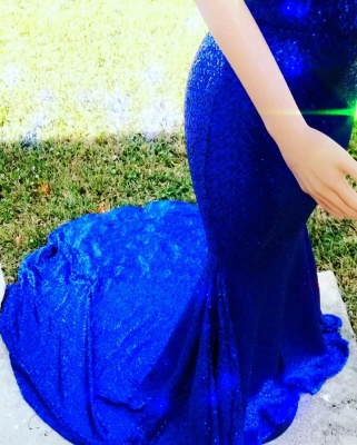 Stylish Mermaid Halter Sleeveless Sweep-Train V-Neck Prom Dresses_3