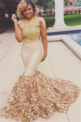 Unique Mermaid Round-Neck Appliques Short Sleeves Floor-Length Prom Dresses_3