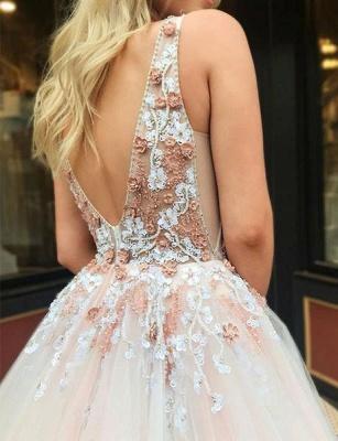 Elegant A-Line Straps V-Neck Sleeveless Beading Appliques Floor-Length Prom Dresses_5