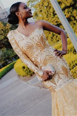 Elegant Mermaid One-Shoulder Long-Sleeves Sweep-Train Prom Dresses_3