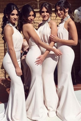 Elegant Halter Mermaid Bridesmaid Dresses   Sexy Ruched Long Wedding Party Dresses_1