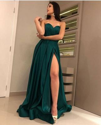 Stunning A-Line Strapless Front-Split Sleeveless Floor-Length Prom Dresses_3