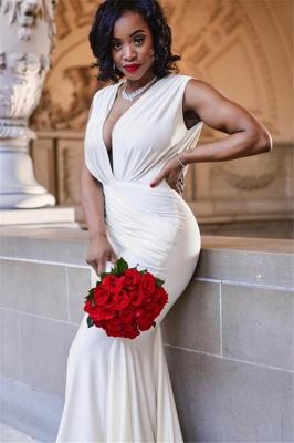Unique Mermaid Deep-V-Neck Sleeveless Straps Floor-Length Prom Dresses_4