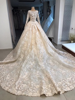Glamorous Ball Gown Scoop Long-Sleeves Appliques Wedding Dresses_3