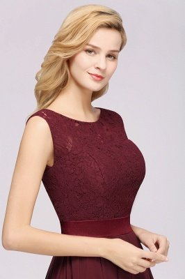 Simple A-Line Chiffon Bridesmaid Dresses   Scoop Sleeveless Lace Appliques Maid of the Honor Dresses_7