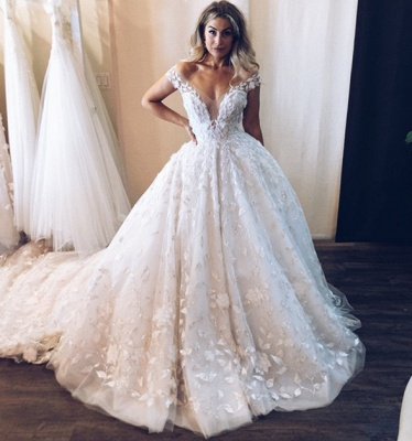 Chic Ball Gown Tulle Off-the-Shoulder V-Neck Appliques Wedding Dresses_3