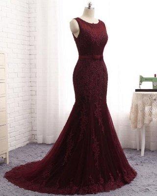 Glamorous Mermaid  Scoop Sleeveless Appliques Sequins Zipper Prom Dresses_3