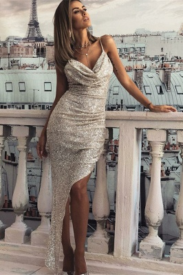 Chic Sheath V-Neck Spaghetti-Straps Sleeveless Prom Dresses_1