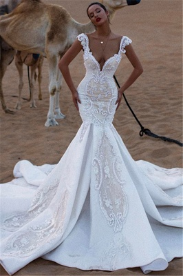 Stylish Mermaid Cap-Sleeves V-Neck Appliques Sweep-Train Wedding Dresses