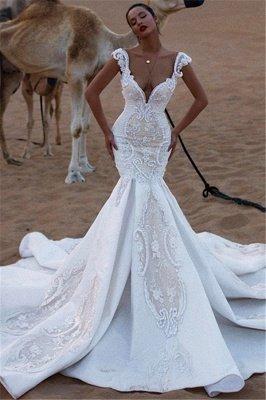 Stylish Mermaid Cap-Sleeves V-Neck Appliques Wedding Dresses_1