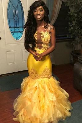 Stunning Mermaid Sleeveless Strapless Appliques  Floor-Length Prom Dresses_3