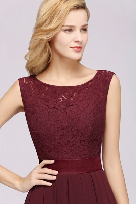 Simple A-Line Chiffon Bridesmaid Dresses   Scoop Sleeveless Lace Appliques Maid of the Honor Dresses_6