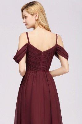A-Line  V-Neck Spaghetti Straps Short-Sleeves Floor-Length Bridesmaid Dresses with Ruffles_8